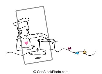 Kid, child cooking. Cook blogger concept. vector illustration with phone, like, thumb up, heart, comment