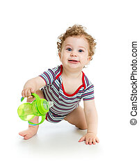 kid child drinking water from bottle