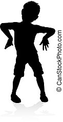 Kid Child Silhouette - A kid or child in silhouette playing...