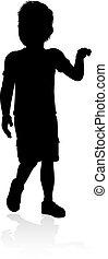 Kid Child Silhouette - Silhouette of boy kid child having...