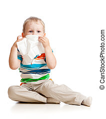 kid cleaning nose with tissue isolated on white
