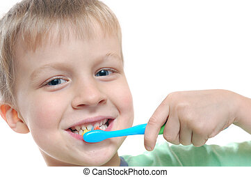 little cheerful boy cleaning his teeth over white background