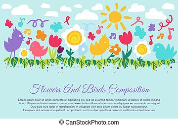 Kid Color Flower and Bird Vector Illustration