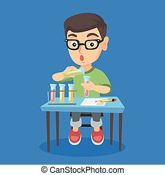 Kid conducting experiment in laboratory class.