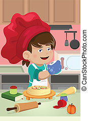 Kid cooking in the kitchen - A vector illustration of happy ...