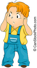 Kid Covering his Ears - Annoyed Kid covering his ears with...