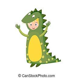 Kid crocodile costume festival superhero character isolated vector illustration