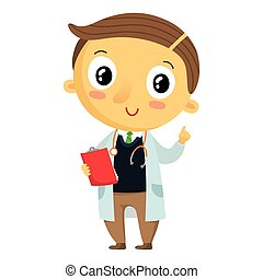 Kid doctor, cartoon character isolated on white