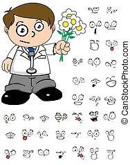kid doctor cartoon expresion flower