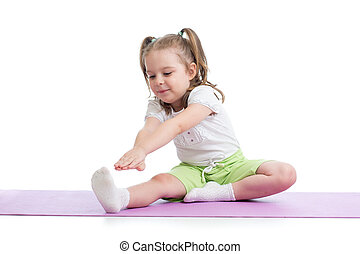 Kid doing fitness exercises isolated