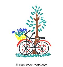 Kid doodle of bicycle with blue flowers in floral basket near tree with leaves isolated on white background.
