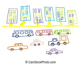 Kid doodle of city landscape with multistorey buildings and traffic on road isolated on white background.