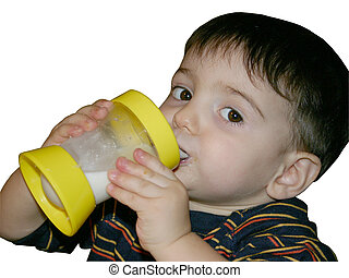 Boy drinking milk from a sippy cup. Hands and face are dirty with food.
