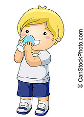 A Young Boy Drinking a Glass of Milk