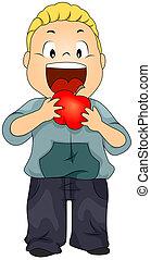 Kid Eating Apple - Illustration of a Little Boy Eating a...