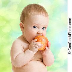Kid eating fruit, healthy food