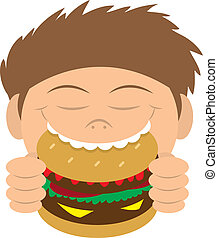 Kid Eating Hamburger - Boy biting into a hamburger