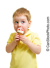 Kid eating ice cream with isolated