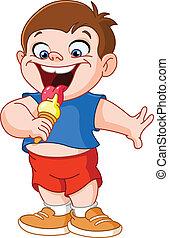 Kid eating icecream - Kid eating ice cream