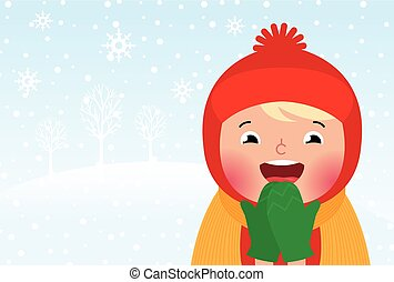 Kid enjoys the snow and winter