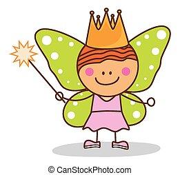 kid fairy costumed