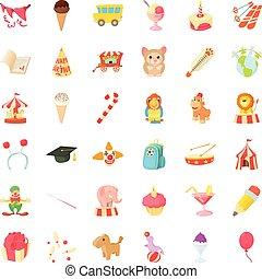 Kid family icons set, cartoon style