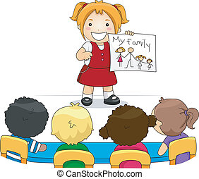 Illustration of a Kid Showing a Drawing of Her Family