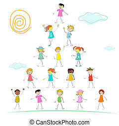 kid forming a pyramid
