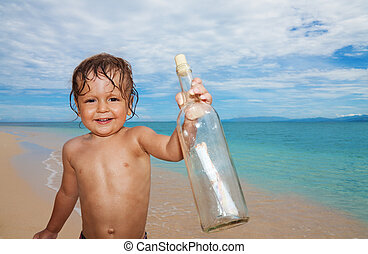 kid found sos bottle in the sea