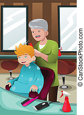 Kid getting a haircut - A vector illustration of kid getting...