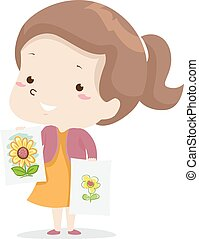 Illustration of a Kid Girl Showing Two Similar Yellow Flower Drawings with One Better than the Other. Adjective Lesson