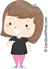 Illustration of a Kid Girl Pointing to Her Black Shirt. Adjective Black Sample