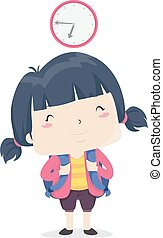 Illustration of a Kid Girl Student Ready for School Before Seven in the Morning. Early Adjective Sample