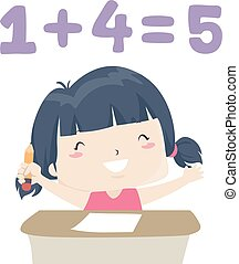 Illustration of a Kid Girl Solving an Easy Math Question, with Her Hands and Pencil Up. Easy Adjective Sample