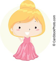 Illustration of a Kid Girl Waving and Wearing an Elegant Pink Gown. Elegant Adjective Sample.