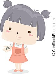 Illustration of a Kid Girl Showing a Few Coins from Her Hands. Few Adjective Sample