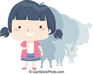 Illustration of a Kid Girl Standing in Front of a Line. First Adjective Sample