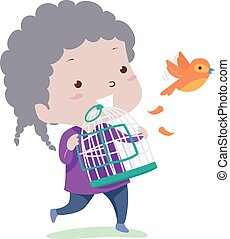 Illustration of a Kid Girl Setting a Bird Free from Its Cage. Free Adjective Sample