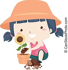 Illustration of a Kid Girl Repotting a Flower Plant from a Broken Pot. Good Adjective Sample