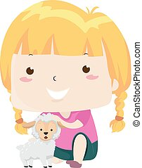 Illustration of a Kid Girl Patting a Little Lamb on Its Head. Little Adjective Sample