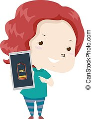 Illustration of a Kid Girl Showing Her Cellphone with Low Battery. Low Adjective Sample
