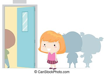 Illustration of a Kid Girl Standing Next on the Line. Next Adjective Sample.