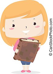 Illustration of a Kid Girl Showing a Really Old Book. Old Adjective Sample