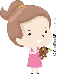 Illustration of a Kid Girl Showing Her Ugly Toy That She Likes. Ugly Adjective Sample