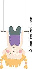 Kid Girl Aerial Skill Static Trapeze Illustration - ...