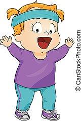 Kid Girl Aerobics Clothes Illustration