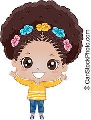 Kid Girl African American Happy
