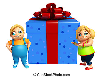 kid girl and kid boy with Gift box
