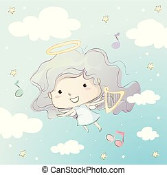 Kid Girl Angel Flying Harp