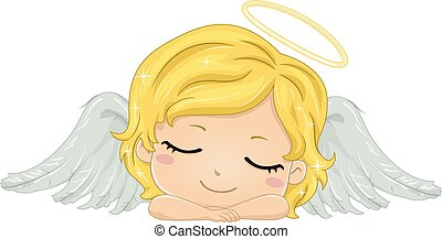 Kid Girl Angel Sleeping Illustration